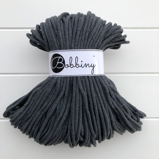 These beautiful Bobbiny ropes are made in Poland, and are non-toxic and certified safe for children, meeting certified worldwide textile standards.  5mm Diameter  100 metres Length  Recommended for use with 10-12mm crochet or knitting needles  Cotton inner and outer layers, perfect for use with Macrame, Crochet or Knitting
