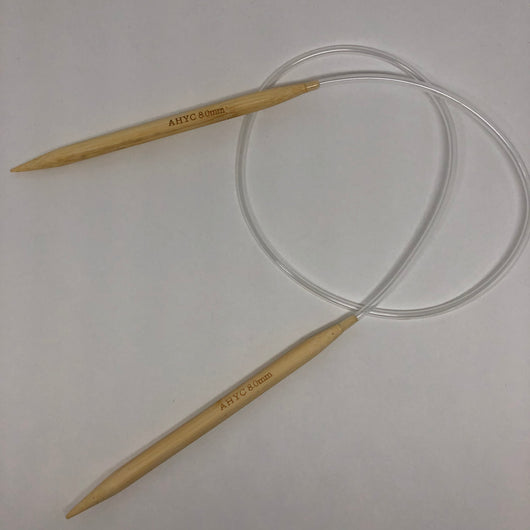 These Bamboo circular needles are so lightweight and are a total of 80cm in length from point to point. Perfect for use with your larger knitting projects.