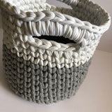 Where can I find Patterns Crochet Basket with Handles Pattern PDF? This pattern is designed using our T-shirt Yarn and recommended for advanced beginners. You will need a 12mm (US O) or similar hook. It is written in US terminology and uses crochet abbreviations. 9 pages in length, including step-by-step photographs, you will receive a PDF copy via email within 24 hours after your order is complete.