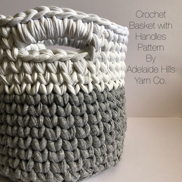 Patterns - Crochet Basket with Handles Pattern - PDF
