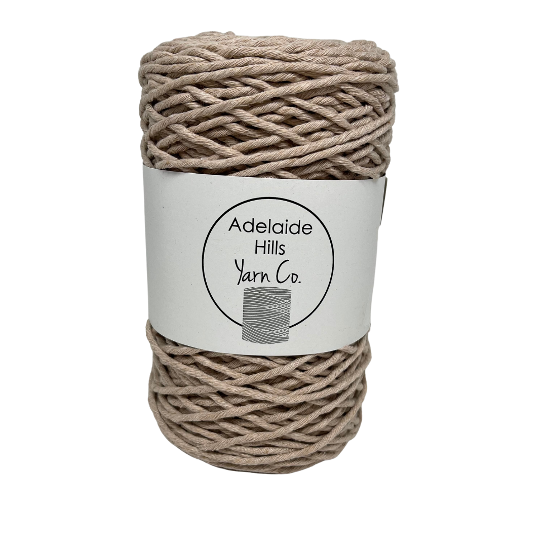 Where can I find Big Cotton Coffee? This cotton blend yarn can be put to use for crochet, weaving, knitting or even mini macrame projects, such as earrings. It is a single twist cotton made using 100%  recycled fibres.  Length: 180 metres +/-  Weight: 250gms +/-  12/14 ply, Super Bulky  Hook Size : 5-10mm hooks  Available in a huge variety of colours