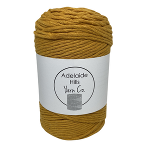 Where can I find Big Cotton YELLOWS Mustard? This cotton blend yarn can be put to use for crochet, weaving, knitting or even mini macrame projects. +/- 180 metres in length and consisting of 80% cotton fibres. 12/14 ply, Super Bulky, perfect for use with 5mm - 10mm hooks.