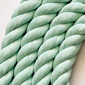 This stunning chunky 3ply cotton rope is an essential item for every fibre lovers tool kit!  Use them for fibre rainbows or separate to use individually for your creations!  Comb these beauties out to create spectacular fringes or tassels!  Available in a beautiful range of shades that will knock your fibre socks off!  3ply/20mm  100% Cotton