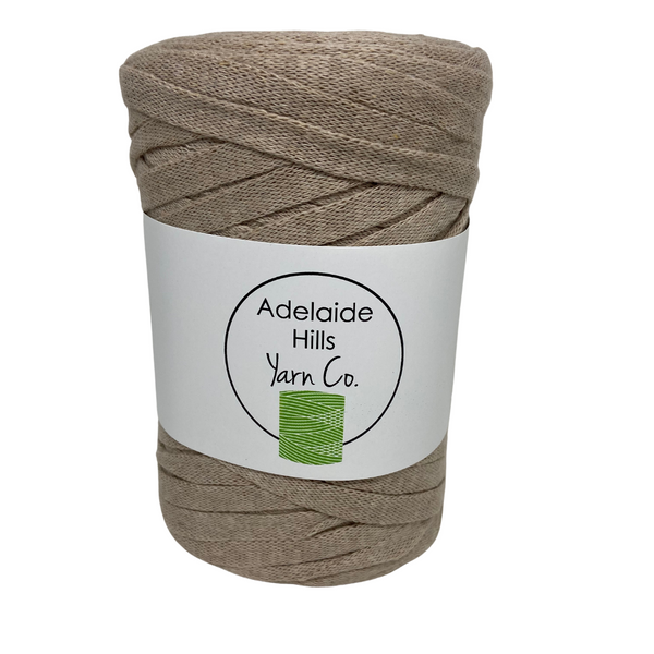 Where can I find Ribbon Yarn WHITES/NEUTRALS Coffee?Our Ribbon Yarn is a beautifully soft woven tape-like fibre perfect for use with crochet, knitting, weaving or any fibre art. Made from 100% recycled fibres.   Length: 130metres +/-  Weight: 250gms +/-  For use with approx 7mm or above hooks depending on your project