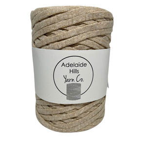 Where can I find Ribbon Yarn Mushroom? Our Ribbon Yarn is a beautifully soft woven tape-like fibre perfect for use with crochet, knitting, weaving or any fibre art. Made from 100% recycled fibres.   Length: 130metres +/-  Weight: 250gms +/-  For use with approx 7mm or above hooks depending on your project