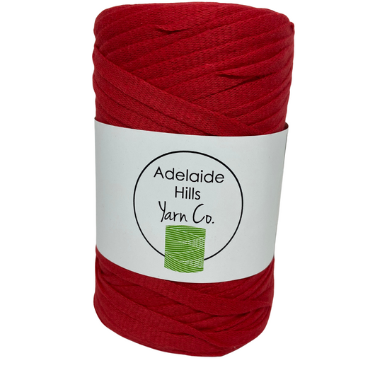 Where can I find ribbon yarn RED? Our Ribbon Yarn is a beautifully soft woven tape-like fibre perfect for use with crochet, knitting, weaving or any fibre art. Made from 100% recycled fibres.   Length: 130metres +/-  Weight: 250gms +/-  For use with approx 7mm or above hooks depending on your project