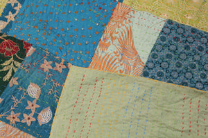 Twin/Double Silk Patchwork Kantha