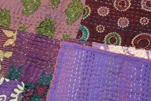 Load image into Gallery viewer, Queen/King Silk Patchwork Kantha