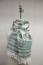 Load image into Gallery viewer, Blockprint Pompom Scarf
