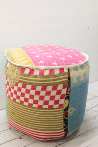 Cotton Kantha Footstool