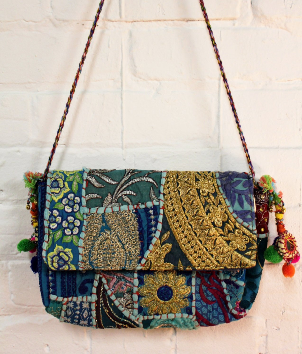 Patchwork Pompom Purse
