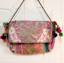 Load image into Gallery viewer, Patchwork Pompom Purse