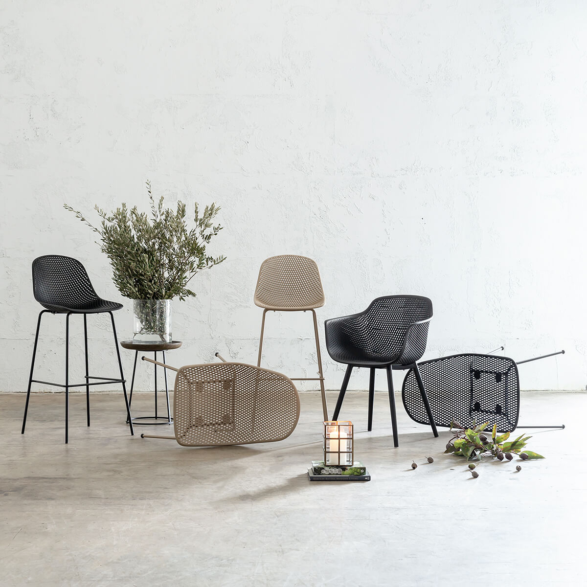 ETTA MESH INDOOR + OUTDOOR DINING + BAR CHAIRS