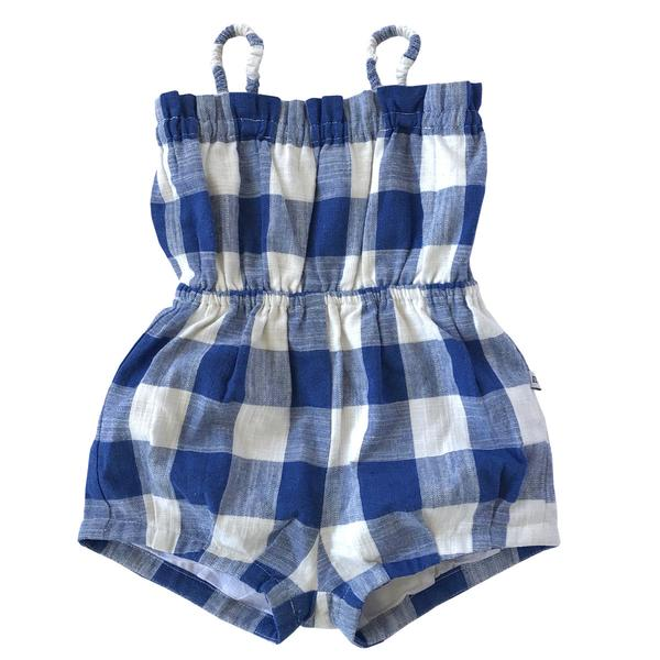 MINOUCHE  |  SOLANGE SUN SUIT  |  BLUE + WHITE CHECK