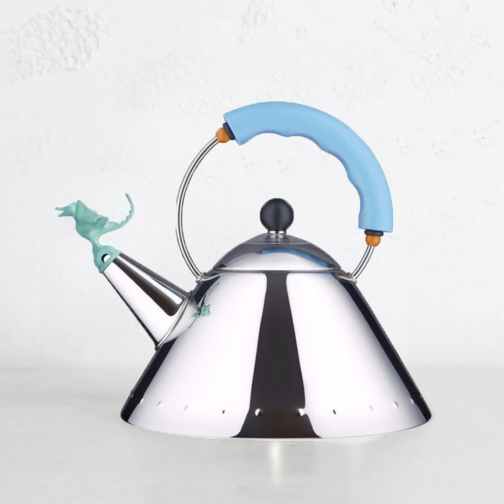 ALESSI  |  T-REX KETTLE  |  BLUE HANDLE + BLUE T-REX  |  BY MICHAEL GRAVES  |  ITALIAN DESIGNED KITCHENWARE