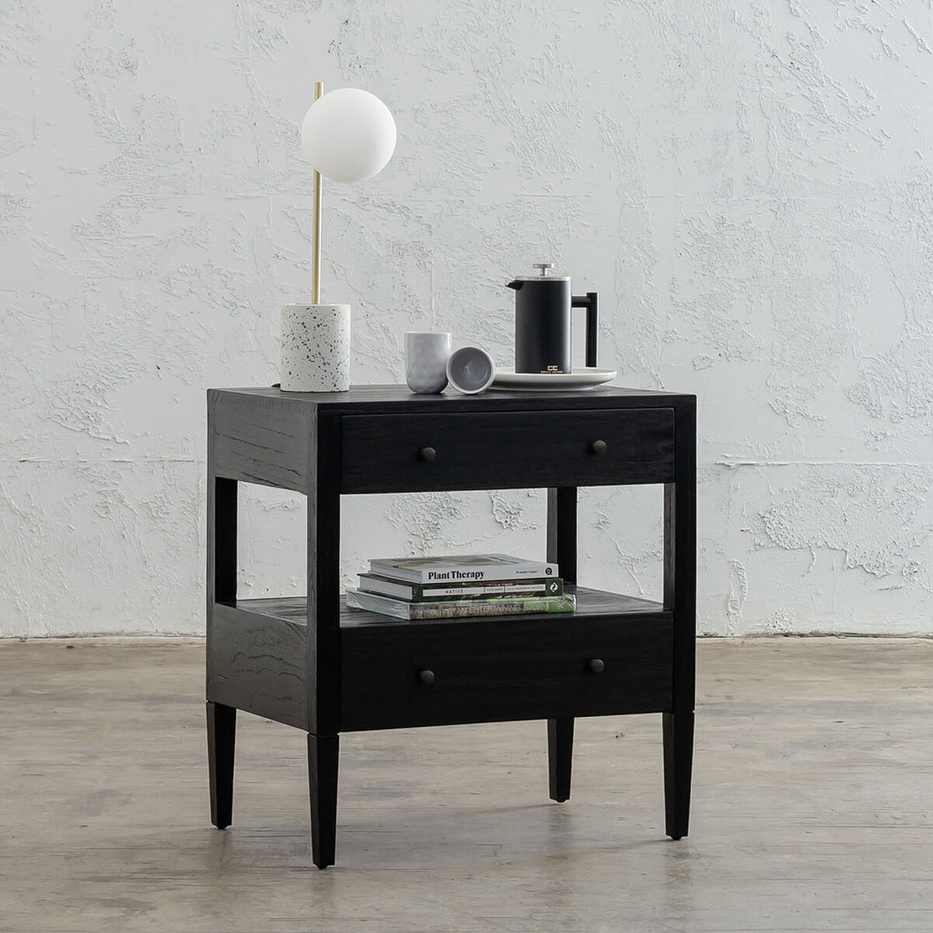 AMARA CONRAD BEDSIDE NIGHTSTAND | BLACK TIMBER GRAIN