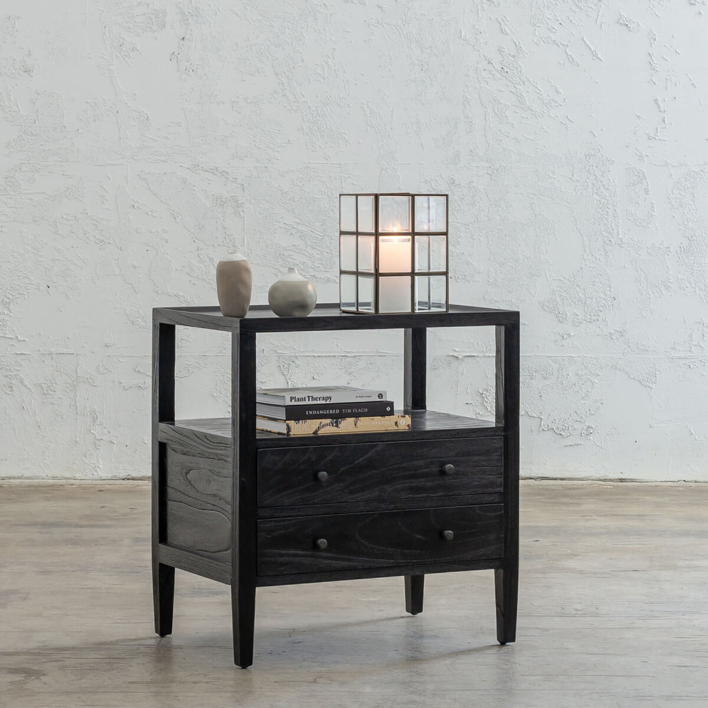 AMARA JARDIN BEDSIDE NIGHTSTAND  |  BLACK TIMBER GRAIN BEDSIDE TABLE