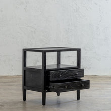 AMARA JARDIN BEDSIDE NIGHTSTAND  |  BLACK TIMBER GRAIN BEDSIDE TABLE WITH DRAWERS OPEN