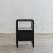 AMARA JARDIN BEDSIDE NIGHTSTAND  |  BLACK TIMBER GRAIN BEDSIDE TABLE SIDE VIEW