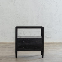 AMARA JARDIN BEDSIDE NIGHTSTAND  |  BLACK TIMBER GRAIN BEDSIDE TABLE FRONT VIEW