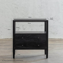 AMARA JARDIN BEDSIDE NIGHTSTAND | BLACK TIMBER GRAIN BEDSIDE TABLE MEASUREMENTS