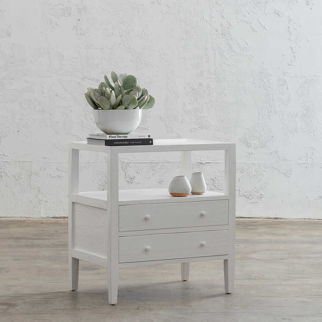 AMARA JARDIN BEDSIDE NIGHTSTAND | WHITE TIMBER GRAIN BEDSIDE TABLE