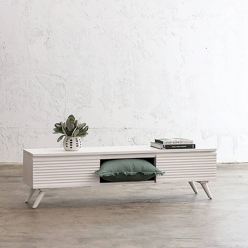 AMARA MID CENTURY TIMBER TV STAND | 2 DOOR 150CM | WHITE