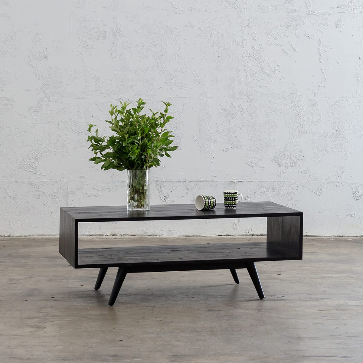 AMARA MID CENTURY TIMBER COFFEE TABLE  |  SQUARE WOOD COFFEE TABLE WITH SHELF |  BLACK
