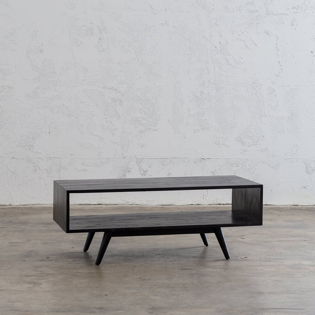 AMARA MID CENTURY TIMBER COFFEE TABLE  |  RECTANGULAR WITH OPEN SHELF  |  BLACK