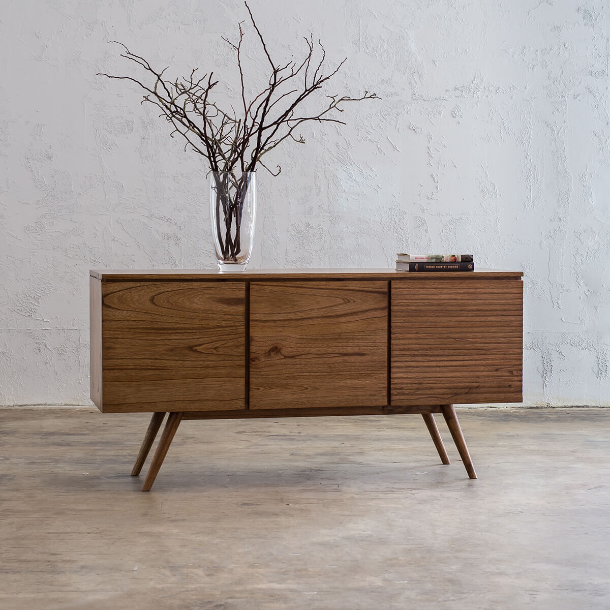 AMARA MID CENTURY TIMBER BUFFET  |  3 DOOR SIDEBOARD CABINET
