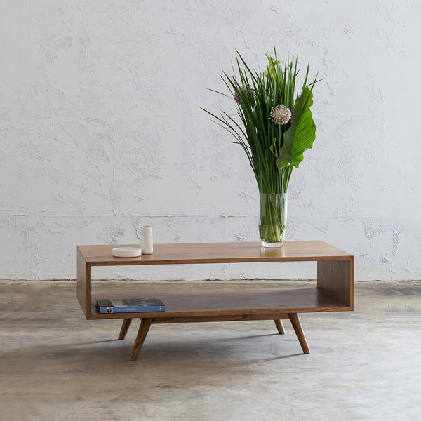 AMARA MID CENTURY TIMBER COFFEE TABLE  |  RECTANGLE WITH OPEN SHELF