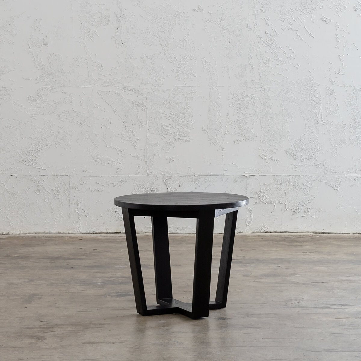 AMARA MID CENTURY TIMBER TERRACE SIDE TABLE  |  SOLID TOP BLACK | ROUND
