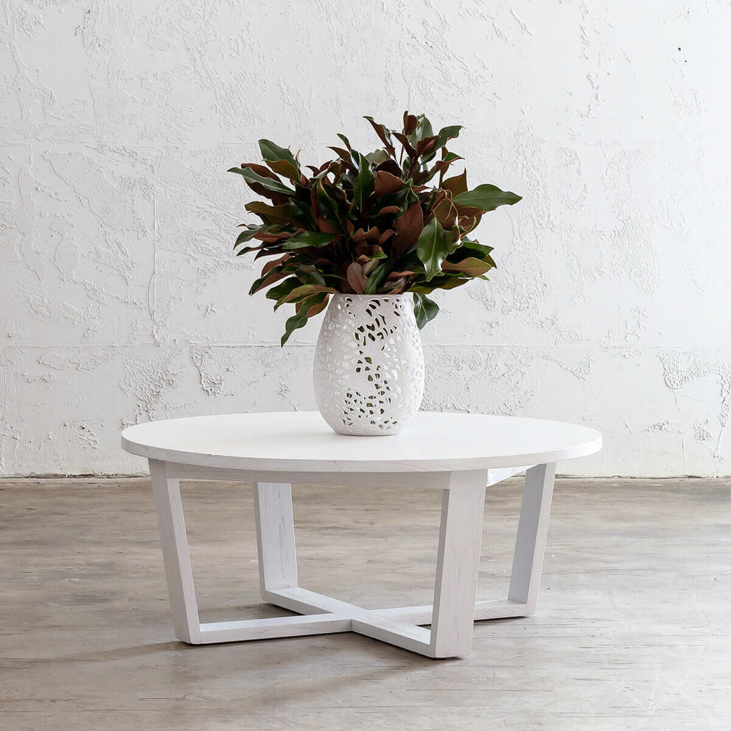 AMARA MID CENTURY TIMBER COFFEE TABLE | SOLID TOP WHITE | ROUND