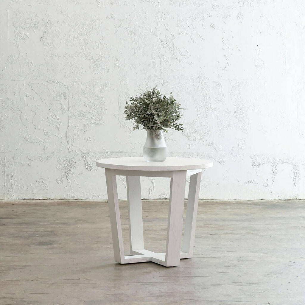 AMARA MID CENTURY TIMBER TERRACE SIDE TABLE | SOLID TOP WHITE | ROUND
