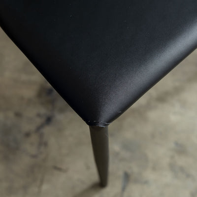 AMES VEGAN LEATHER DINING CHAIR  |  NOIR BLACK  | FAUX LEATHER DINING SETTING