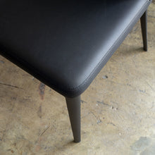 ANDERS DINING CHAIR | FAUX LEATHER | NOIR BLACK LEATHER CLOSEUP