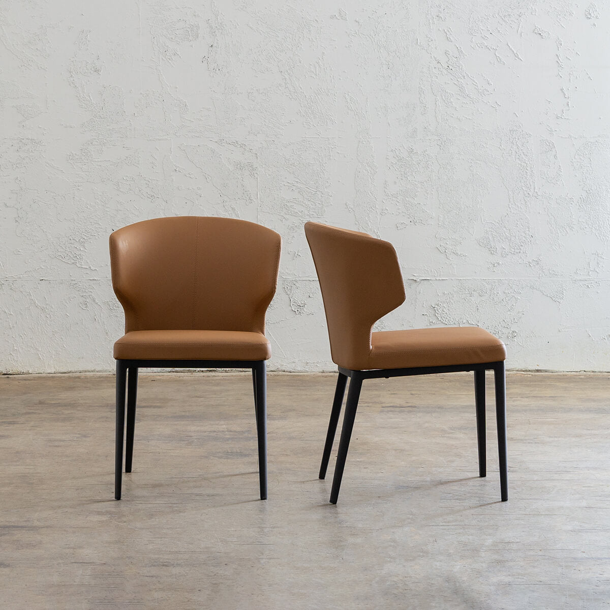 PRE ORDER   ANDERS DINING CHAIR   VEGAN LEATHER   SADDLE TAN