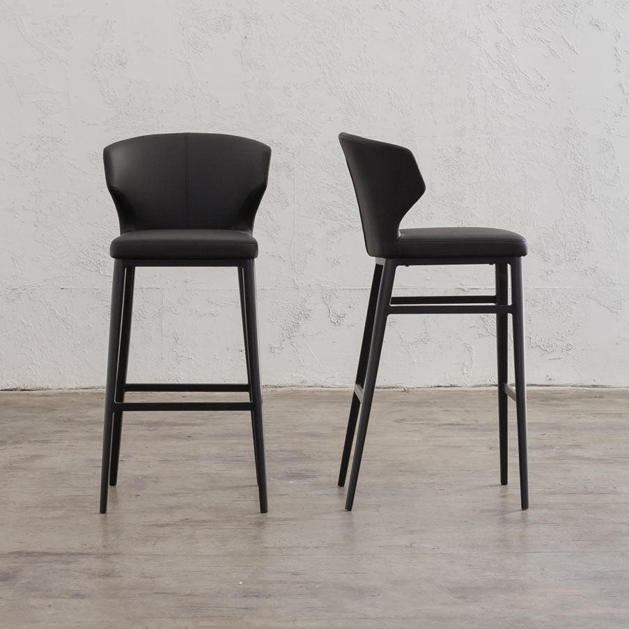 ANDERS BAR CHAIR  |  FAUX LEATHER  |  NOIR BLACK BAR STOOL