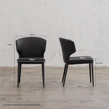 ANDERS DINING CHAIR  |  FAUX LEATHER  |  NOIR BLACK WITH MEASUREMENTS