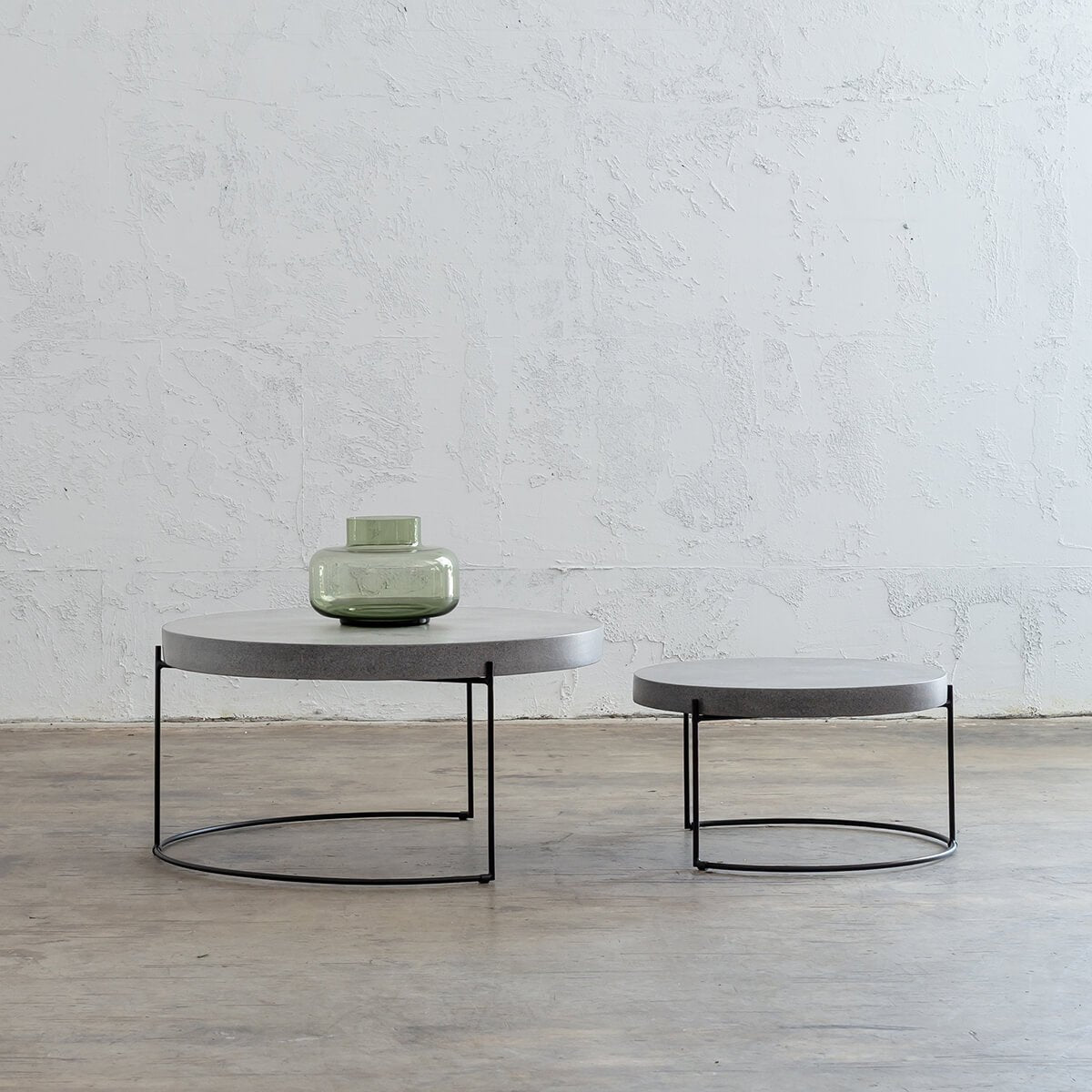 PRE ORDER | ARIA CONCRETE GRANITE COFFEE TABLE  |  ROUND  |  ZINC ASH