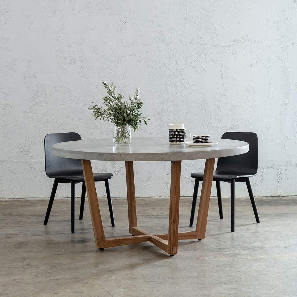 PRE ORDER | ARIA CONCRETE GRANITE TOP DINING TABLE ROUND  |  ZINC ASH  |  120cm