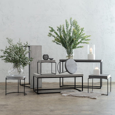 ARIA CONCRETE GRANITE SIDE TABLES TABLE   |  ZINC ASH  |  INDOOR OUTDOOR TABLE