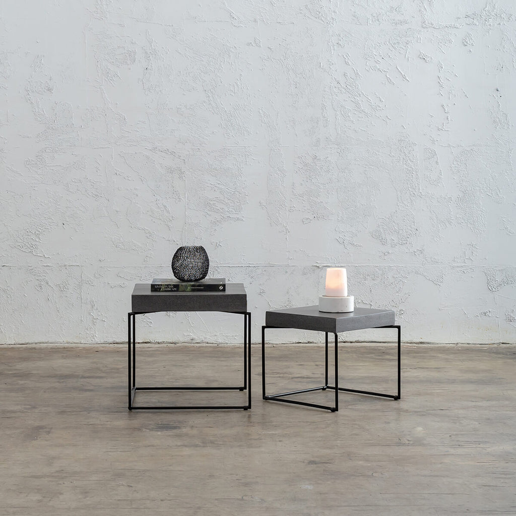 ARIA CONCRETE GRANITE SIDE TABLES TABLE   |  CLASSIC MID GREY
