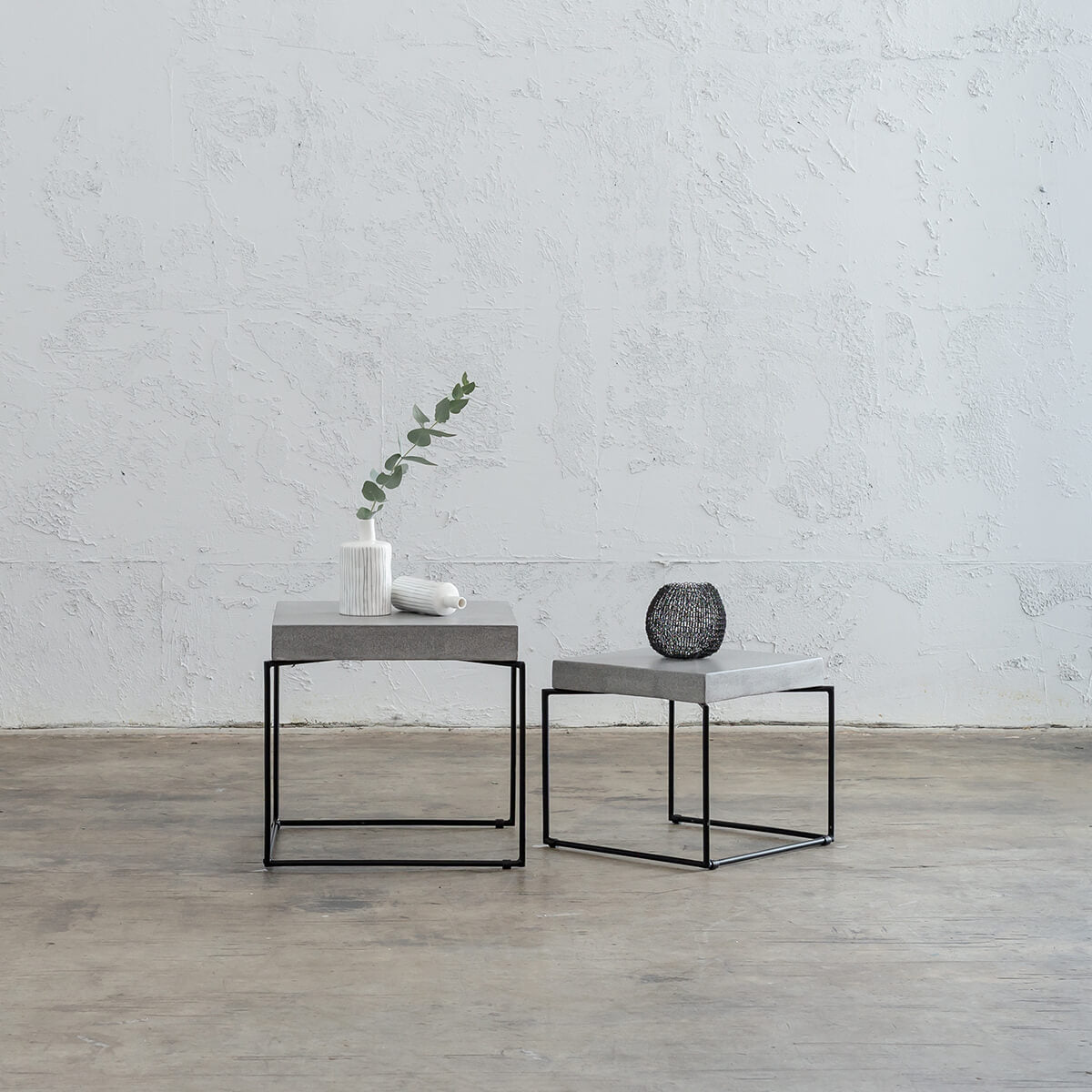 ARIA CONCRETE GRANITE SIDE TABLES  |  SQUARE  |  ZINC ASH