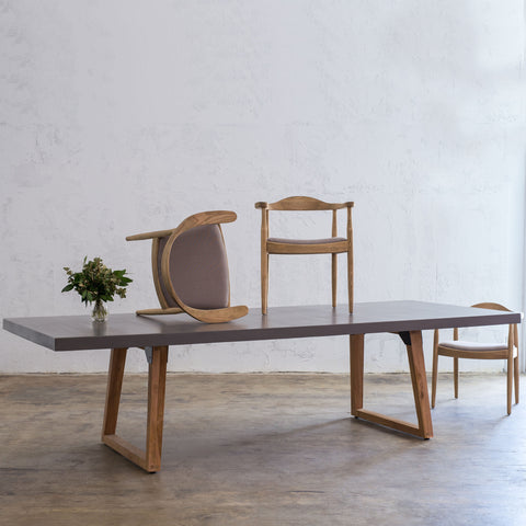 concrete dining table , modern design , organic granite top , indoor & outdoor table , industrial