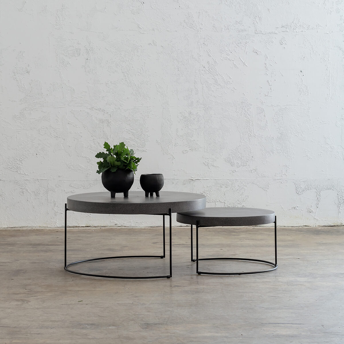 ARIA CONCRETE GRANITE COFFEE TABLE BUNDLE  |  2 x COFFEE TABLES   |  ROUND  |  CLASSIC MID GREY