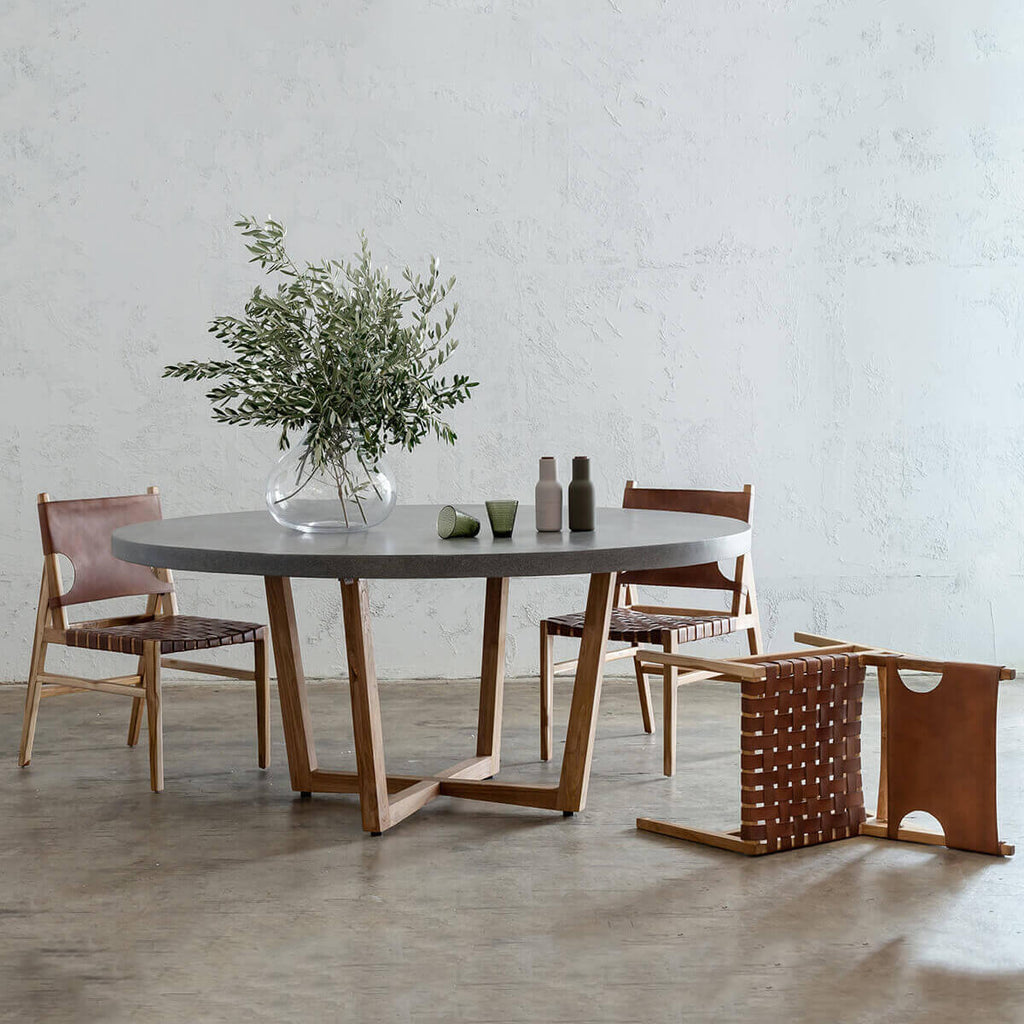 ARIA CONCRETE GRANITE DINING TABLE 150CM + 4 JENSEN LEATHER DINING CHAIR PACKAGE