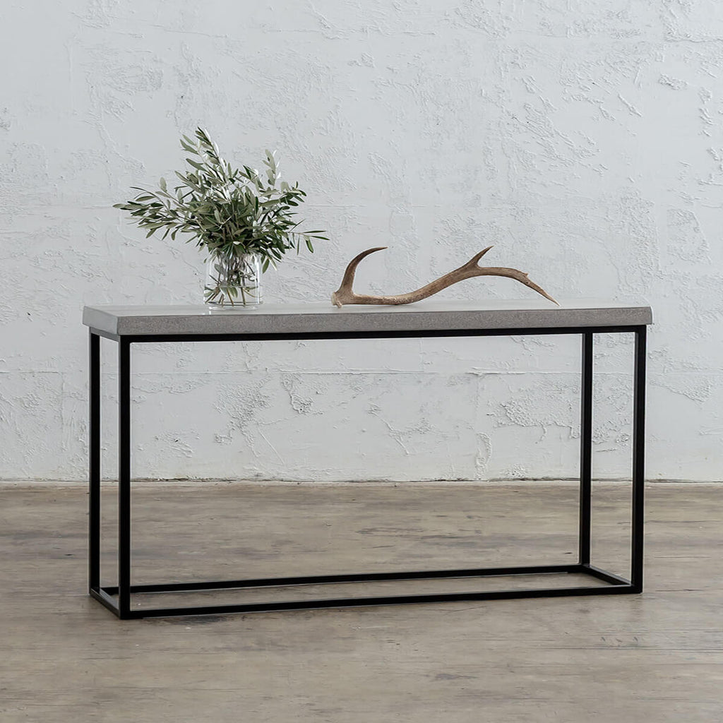 ARIA CONCRETE GRANITE CONSOLE TABLE | 180CM | ZINC ASH