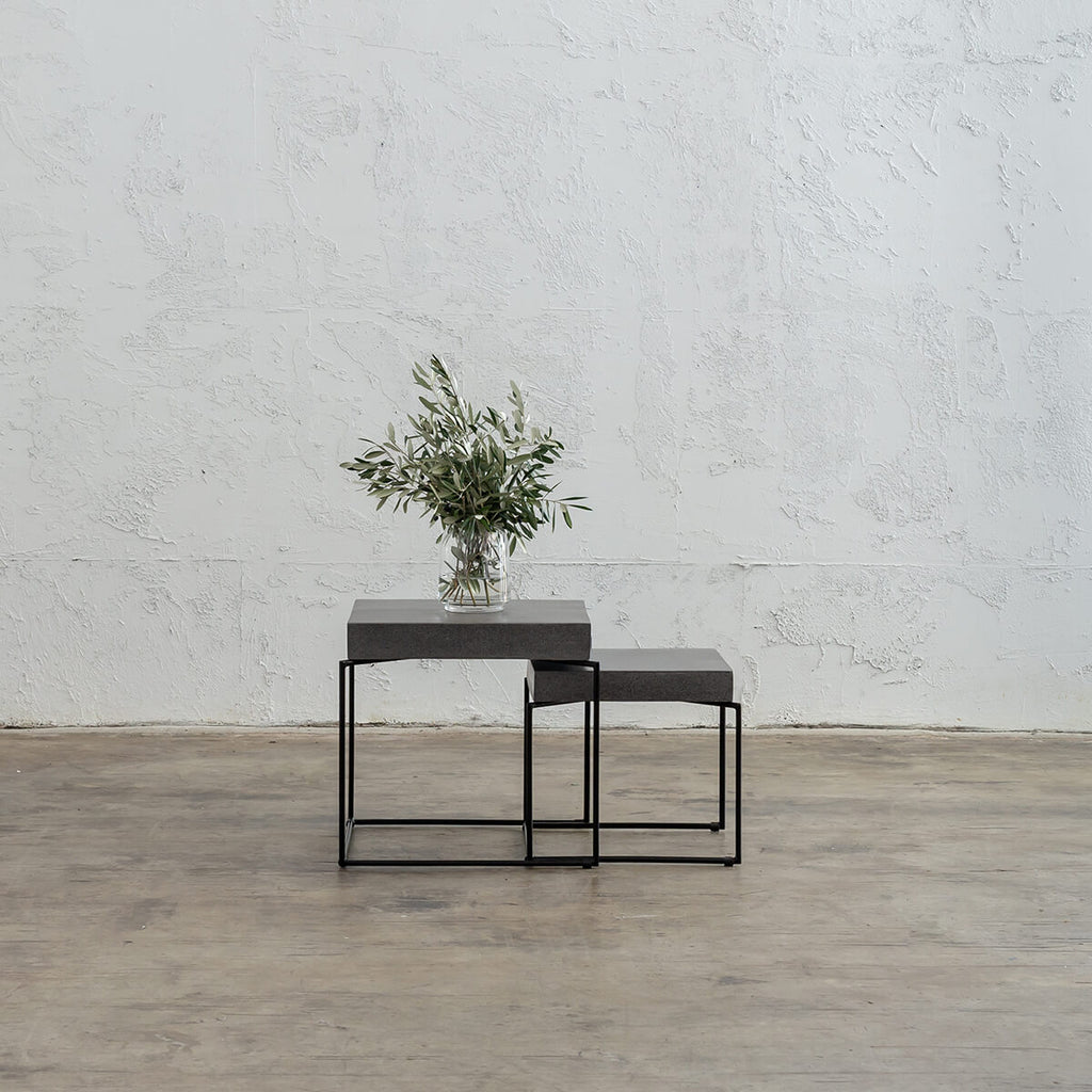 ARIA CONCRETE GRANITE SIDE TABLE  INDUSTRIAL LOOK | CLASSIC MID GREY