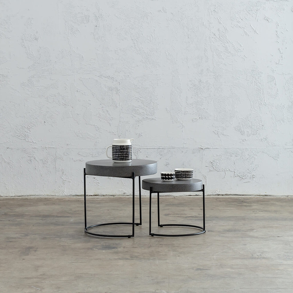 ARIA CONCRETE GRANITE SIDE TABLES TABLE   |  CLASSIC MID GREY  |  INDOOR OUTDOOR TABLE